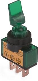 ASW-14D (зеленый), Тумблер с подсветкой ON-OFF (20A 12VDC) SPST 3P
