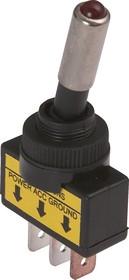 ASW-15D-R, Тумблер красный с подсветкой ON-OFF (20A 12DC) SPST 3P