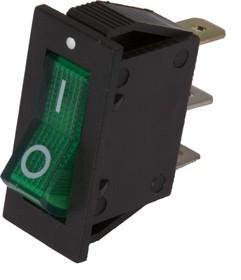 Фото 1/2 IRS-101-2B3 (зеленый), Переключатель с подсветкой ON-OFF (15A 250VAC) SPST 3P