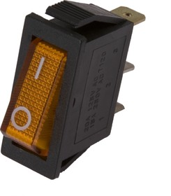 Фото 1/2 IRS-101-1A3 (желтый), Переключатель с подсветкой ON-OFF (15A 250VAC) SPST 3P