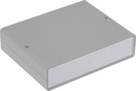 G738A, Корпус для РЭА 140х110х35 мм, пластик, светло-серый, алюминиевая панель
