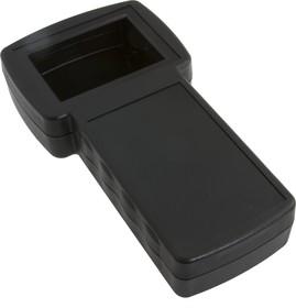 G828B(O), Корпус фигурный с отверстием под ЖКИ 210х110/75х40.5 мм, пластик, черный