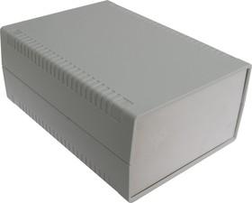 Фото 1/2 G768A, Корпус для РЭА 140х190х80 мм, пластик, светло-серый, алюминиевая панель