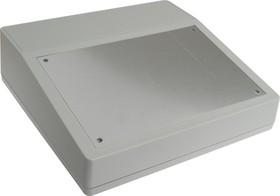 G1502, Корпус для РЭА 228х216х76/50мм, пластик, светло-серый, алюминиевая панель