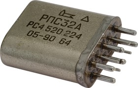 Фото 1/3 РПС32А РС4.520.224, (27В), Реле электромагнитное поляризованное