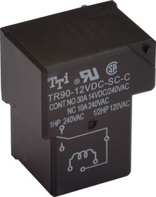 Фото 1/2 TR90-12VDC-SC-C-R, Реле 1пер. 12V / 30A, 240VAC