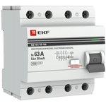 Выключатель дифференциального тока (УЗО) 4п 63А 30мА тип AC ВД-100 (электромех.) ...