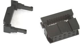 Фото 1/3 IDC-10F (DS1016-10), Розетка 2.54мм на шлейф 10 pin с фиксатором кабеля
