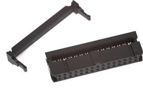 Фото 1/2 IDC-30F (DS1016-30), Розетка 2.54мм на шлейф 30 pin с фиксатором кабеля