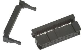 Фото 1/3 IDC-20F (DS1016-20), Розетка 2.54мм на шлейф с фиксатором кабеля