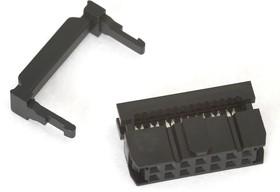 Фото 1/3 IDC-14F (DS1016-14), Розетка 2.54мм на шлейф с фиксатором кабеля