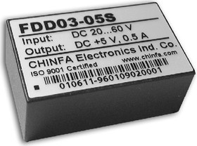 Фото 1/2 FDD03-05S1, DC/DC преобразователь, 2Вт, вход 9-18В, выход 5В/400мА