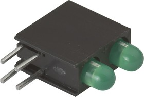 L-934EB/2GD (L-7104EB/2GD), 2 светодиод зеленый d=3мм 15мКд