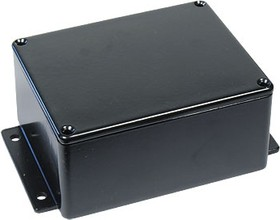 B025MFBK, Корпус для РЭА 114x90x55мм, металл, с крепежным фланцем, черный