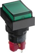 D16LAT1-1abKG, Кнопка с фиксацией / LED 250В/5А