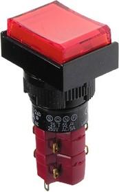 D16LAT1-2abHR, Кнопка с фиксацией / LED 250В/5А