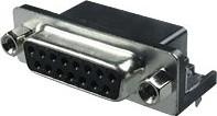Фото 1/3 DRB-15FB, Розетка 15 pin на плату 9.4мм
