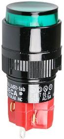 D16LAR1-1abKG, Кнопка с фиксацией / LED 250В/5А