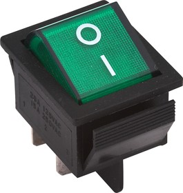Фото 1/2 IRS-201-1A3 (зеленый), Переключатель с подсветкой ON-OFF (15A 250VAC) DPST 4P