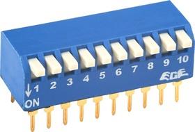 SWD3-10 (ВДМ1-10), Переключатель DIP угловой, 10 контактных групп