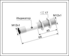 ВБ2.12М.73.2.1.1.Z, Индуктивный датчик, PNP, замыкающий, постоянное напряжение