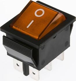 IRS-202-1A3 желтый, Переключатель с подсветкой ON-ON (15A 250VAC) DPDT 6P