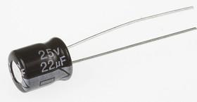 ECAP (К50-35 мини), 22 мкФ, 25 В, 5х7мм, Конденсатор электролитический алюминиевый миниатюрный