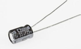ECAP (К50-35 мини), 33 мкФ, 25 В, 5х7мм, Конденсатор электролитический алюминиевый миниатюрный