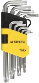 """2743-H9, Набор STAYER """"MASTER"""": Ключи имбусовые короткие, Cr-V, сатинированное покрытие, пластиковый держател"""