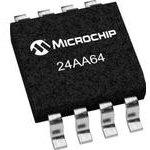 Фото 2/2 24AA64-I/SN, EEPROM, AEC-Q100, 64 Кбит, 8К x 8бит, Serial I2C (2-Wire), 400 кГц, SOIC, 8 вывод(-ов)