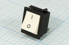 Фото 1/3 Клавишный выключатель 2-х полюсный белого цвета, 220В/16А, c фиксацией, №1062 W ПКл\ 4T\16А\ON-OFF\\чер/ бел\KCD2-201-B/W
