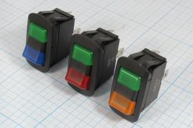 Фото 1/2 Клавишный переключатель с двойной индикацией:красной и зелёной, 12В/20А, c фиксацией, №10221 ПКл\ 4T\20А12В\ON-ON\\ILзел/ кр\R13-260С5-01G/R