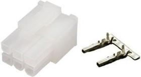 Фото 1/3 DS1073-02-2x3-FСT6 (MF2x3F), Розетка на кабель 4.2мм 6pin с контактами