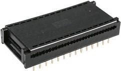 Фото 1/2 DIP-28 (FDC-28) (DS1019-28W), Разъем широкий DIP на шлейф 28 контактов