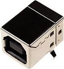 Фото 1/2 USBB-1J (DS1099-B), Розетка на плату, тип B (черная) угловая