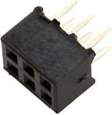 PBD2-6 (DS-1026-06 - 2X3), Гнездо на плату 2мм 2x3 прямое