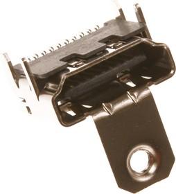HDMI-19R (DS1115-B-N-0), Розетка с креплением 19pin на плату (SMD)