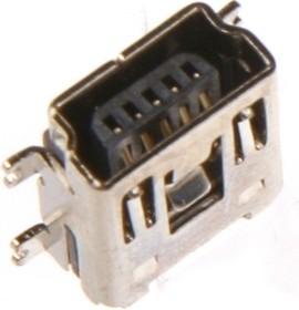 Фото 1/2 MiniUSB-A, Розетка 5-контактная SMD на плату