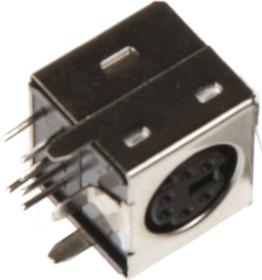 Фото 1/2 Mini DIN (6 pin) (DS1093-01-6), Розетки экранированные на плату угловые для компьютера