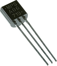 Фото 1/3 MPSA06, Одиночный биполярный транзистор, универсальный, NPN, 80В, 100МГц, 625мВт, 500мА, 100hFE, [TO-92]