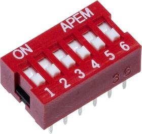 NDSR-06-V, DIP переключатель 6 положений