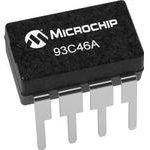 93C46A-I/P, EEPROM, 1 Кбит, 128 x 8бит, Serial 3-Wire, 2 МГц, DIP, 8 вывод(-ов)