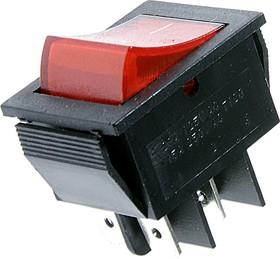 Фото 1/2 IRS-201-2C3 (красный), Переключатель с подсветкой ON-OFF (15A 250VAC) DPST 4P