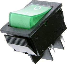 Фото 1/2 IRS-201-2C3 (зеленый), Переключатель с подсветкой ON-OFF (15A 250VAC) DPST 4P