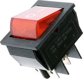 Фото 1/2 IRS-201-2A3 (красный), Переключатель с подсветкой ON-OFF (15A 250VAC) DPST 4P