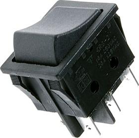 RS-202-6C1-B/B, Переключатель одноклавишный 2 х ON-ON (16A 250VAC) DPST 6P, черная клавиша