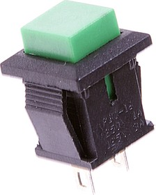PBS-15B green, Кнопка квадратная без фиксации OFF-(ON) (1A 250VAC), зеленая