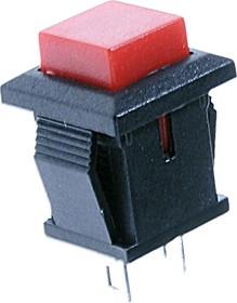 PBS-15B red, Кнопка квадратная без фиксации OFF-(ON) (1A 250VAC), красная