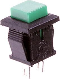 PBS-15CG, Кнопка квадратная ON-(OFF) (1A 250VAC), зеленая 8.8х8.8мм