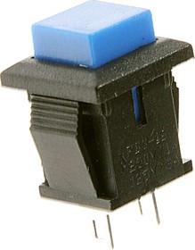 PBS-15B blue, Кнопка квадратная без фиксации OFF-(ON) (1A 250VAC), синяя